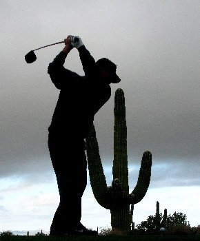 MARANA, AZ - FEBRUARY 23:  K.J. Choi of South Korea hits his tee shot on the fifth hole during the quarterfinal matches of the WGC-Accenture Match Play Championship at The Gallery at Dove Mountain on February 23, 2008 in Marana, Arizona.  (Photo by Travis Lindquist/Getty Images)