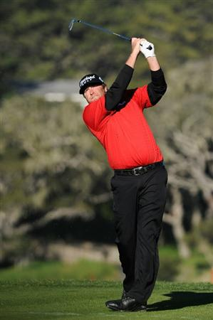 PEBBLE BEACH, CA - FEBRUARY 11:  Steve Marino plays his tee shot on the sixth hole during the second round of the AT&T Pebble Beach National Pro-Am at the Pebble Beach Golf Links on February 11, 2011  in Pebble Beach, California  (Photo by Stuart Franklin/Getty Images)