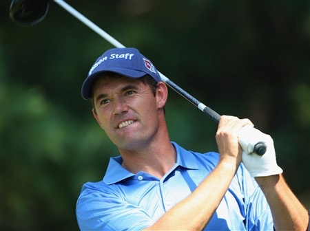 AKRON, OH - JULY 29:  Padraig Harrington of Ireland plays a tee shot during practice for the World Golf Championship Bridgestone Invitational at Firestone Country Club on July 29, 2008 in Akron, Ohio.  (Photo by Stuart Franklin/Getty Images)