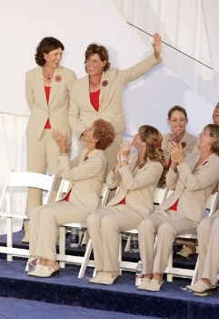 Rosie Jones waves during the opening ceremonies of the Solheim Cup at Crooked Stick Golf Club in Carmel, Indiana on September 8, 2005.Photo by Michael Cohen/WireImage.com