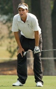 Jeff Overton cheers for his ball after hitting his shot from the ninth fairway during the second round of the Wyndham Championship at Forest Oaks Country Club on August 17, 2007 in Greensboro, North Carolina. PGA TOUR - 2007 Wyndham Championship - Second RoundPhoto by Jonathan Ernst/WireImage.com