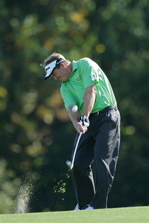 TIMONIUM, MD - OCTOBER 10:  Fred Funk plays a shot from the fairway during the second round of the Constellation Energy Senior Players Championship at Baltimore Country Club East Course held on October 10, 2008 in Timonium, Maryland  (Photo by Michael Cohen/Getty Images)