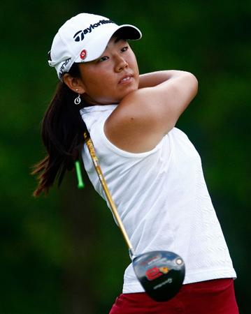 BETHLEHEM, PA - JULY 10:  Mina Harigae watches her tee shot on the 15th hole during the second round of the 2009 U.S. Women's Open at the Saucon Valley Country Club on July 10, 2009 in Bethlehem, Pennsylvania.  (Photo by Scott Halleran/Getty Images)