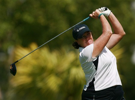 AVENTURA, FL - APRIL 25:  Meg Mallon hits her tee shot on the seventh hole during the second round of the Stanford International Pro-Am at Fairmont Turnberry Isle Resort & Club on April 25, 2008 in Aventura, Florida.  (Photo by Doug Benc/Getty Images)