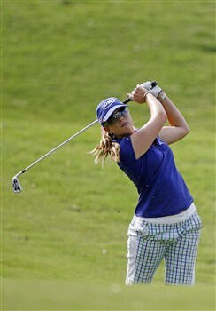 BROKEN ARROW, OK - MAY 1: Paula Creamer hits her second shot on the 8th hole during the first round of SemGroup Championship at Cedar Ridge Country Club on May 1, 2008 in Broken Arrow, Oklahoma. (Photo by Hunter Martin/Getty Images)