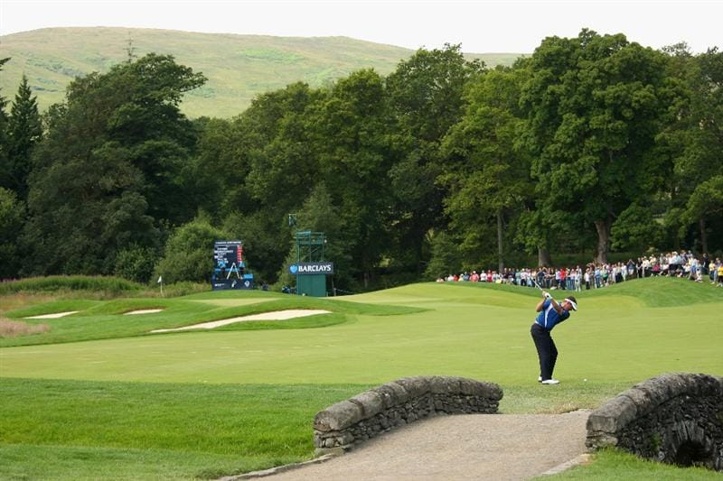 LUSS, SCOTLAND - JULY 11:  Lee Westwood of England hits his third shot on the 13th hole during the Third Round of The Barclays Scottish Open at Loch Lomond Golf Club on July 11, 2009 in Luss, Scotland.  (Photo by Andrew Redington/Getty Images)