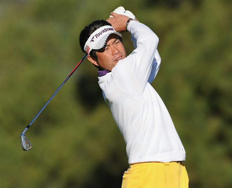 PACIFIC PALISADES, CA - FEBRUARY 17:  Yuta Ikeda of Japan plays his approach shot on the first hole during the first round of the Northern Trust Open at Riviera Country Club on February 17, 2011 in Pacific Palisades, California.  (Photo by Stuart Franklin/Getty Images)