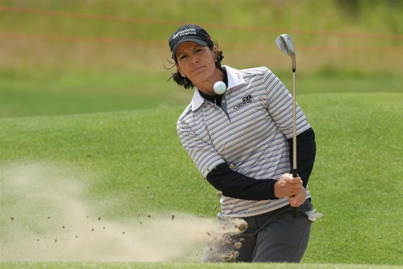 LYTHAM ST ANNES, ENGLAND - JULY 30:  Juli Inkster of USA hits her third shot on the 2nd hole during the first round of the 2009 Ricoh Women's British Open Championship held at Royal Lytham St Annes Golf Club, on July 30, 2009 in  Lytham St Annes, England.  (Photo by David Cannon/Getty Images)