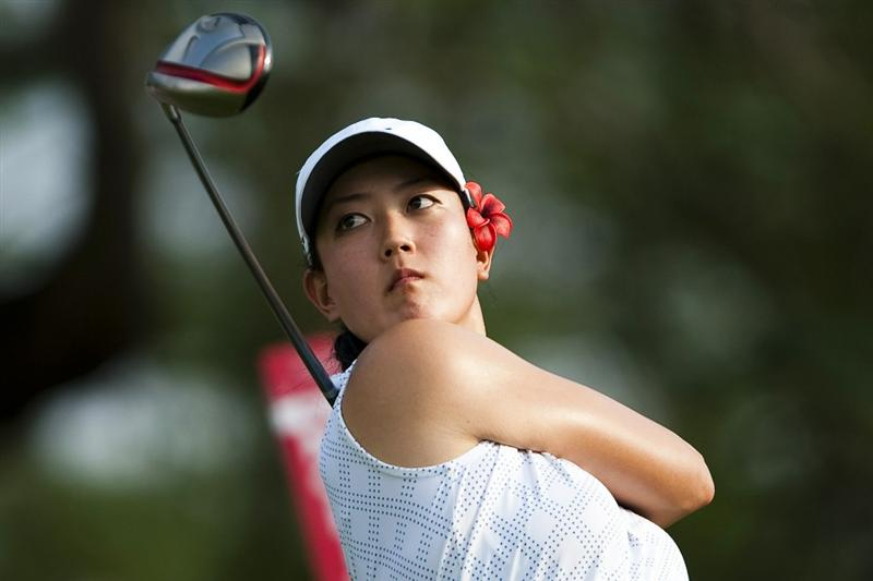 CHON BURI, THAILAND - FEBRUARY 17:  Michelle Wie of USA tees off on the 18th hole during day one of the LPGA Thailand at Siam Country Club on February 17, 2011 in Chon Buri, Thailand.  (Photo by Victor Fraile/Getty Images)