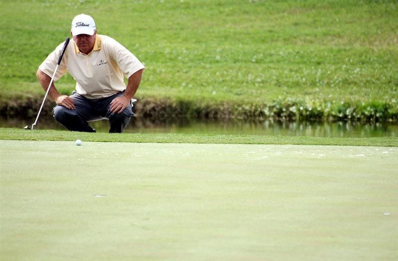 LUTZ, FL - APRIL 17:  Mark O'Meara lines up a putt on the 17th hole during the first round of the Outback Steakhouse Pro-Am at TPC Tampa Bay on April 17, 2009  in Lutz, Florida.  (Photo by Marc Serota/Getty Images)