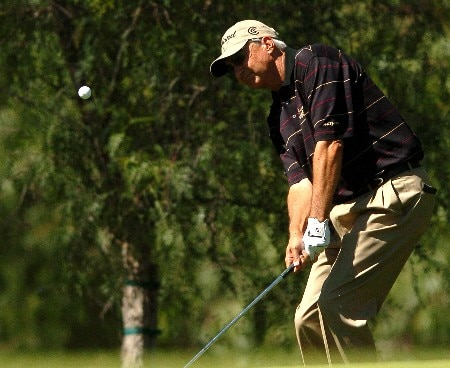 Don Pooley hits out of the short rough on the ninth hole during the first round of the Champions' Tour 2005 SBC Classic at  the Valencia Country Club in Valencia, California March 11, 2005.