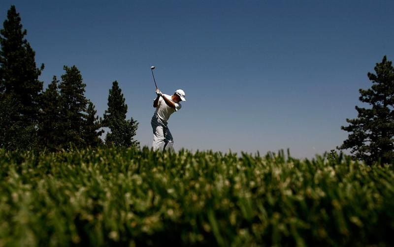 RENO, NV - AUGUST 08:  Ryan Palmer tees off on the 8th hole during the third round of the Legends Reno-Tahoe Open on August 8, 2009 at Montreux Golf and Country Club in Reno, Nevada.  (Photo by Jonathan Ferrey/Getty Images)