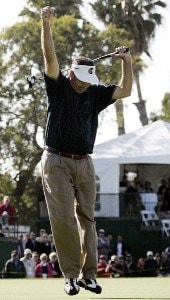Brad Bryant celebrates after making a birdie putt on the 18th hole during the final round of the Toshiba Classic, March 19, 2006, held at Newport Beach Country Club, Newport Beach, California.Photo by Gregory Shamus/WireImage.com