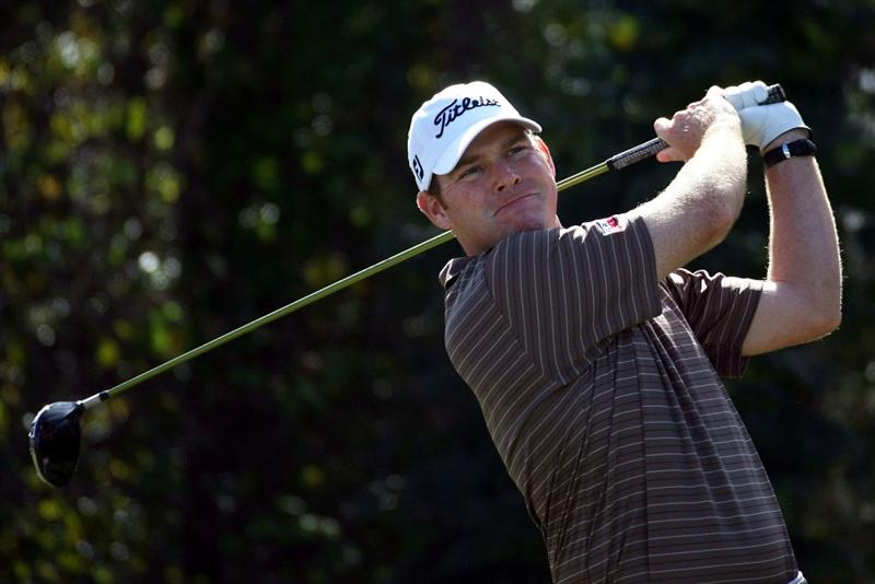 LAKE BUENA VISTA, FL - NOVEMBER 9: Troy Matteson tees off on the fourth hole, during the final round at the Children's Miracle Network Classic at Disney Magnolia golf course November 9, 2008 in Lake Buena Vista, Florida. (Photo by Marc Serota/Getty Images)