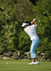 Rachel Hetherington hits her tee shot on the18th hole during first round of the 61st US Womens Open being held at the Newport Country Club in Newport, Rhode Island on June 30, 2006.
