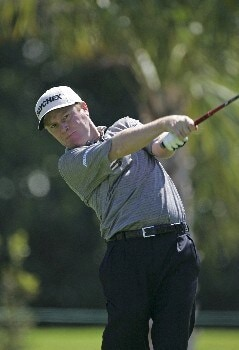 Jeff Sluman hits from the 7th tee in the third round of the Ford Championship at Doral in Miami, Florida. March 5, 2005