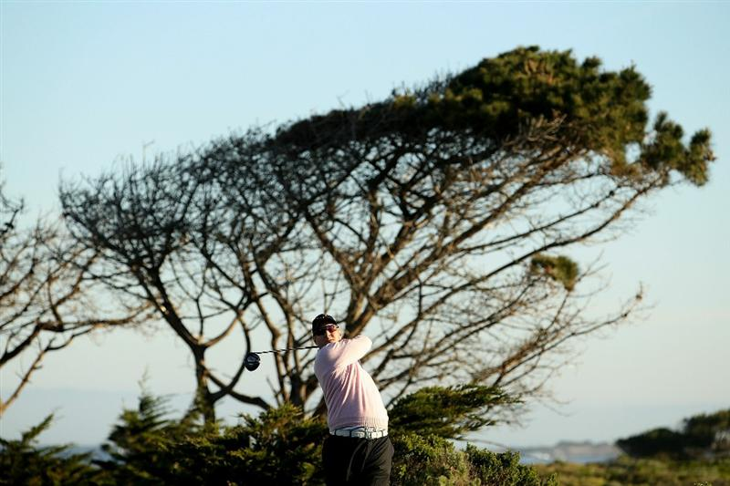 PEBBLE BEACH, CA - FEBRUARY 11:  David Duval tees off on the 10th hole during the second round of the AT&T Pebble Beach National Pro-Am at Monterey Peninsula Country Club on February 11, 2011 in Pebble Beach, California.  (Photo by Ezra Shaw/Getty Images)