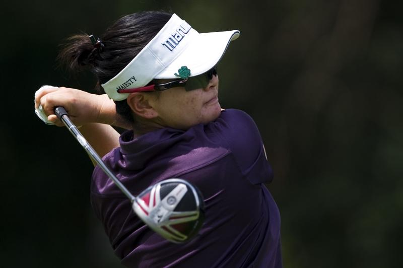 CHON BURI, THAILAND - FEBRUARY 19:  Yi Eunjung of USA tees off on the 9th hole during round two of the Honda LPGA Thailand at the Siam Country Club on February 19, 2010 in Chon Buri, Thailand.  (Photo by Victor Fraile/Getty Images)