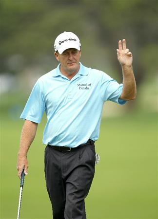 SAN FRANCISCO - NOVEMBER 05:  Fred Funk waves to the crowd after he made a putt on the 2nd hole during round 2 of the Charles Schwab Cup Championship at Harding Park Golf Course on November 5, 2010 in San Francisco, California.  (Photo by Ezra Shaw/Getty Images)