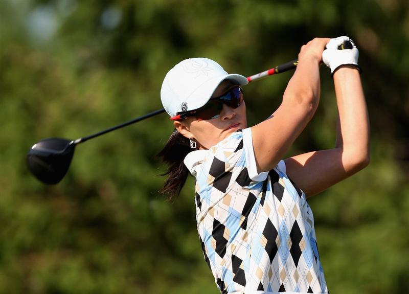 SPRINGFIELD, IL - JUNE 06: Se Ri Pak of South Korea hits a tee shot on the 16th hole during the third round of the LPGA State Farm Classic golf tournament at Panther Creek Country Club on June 6, 2009 in Springfield, Illinois. (Photo by Christian Petersen/Getty Images)