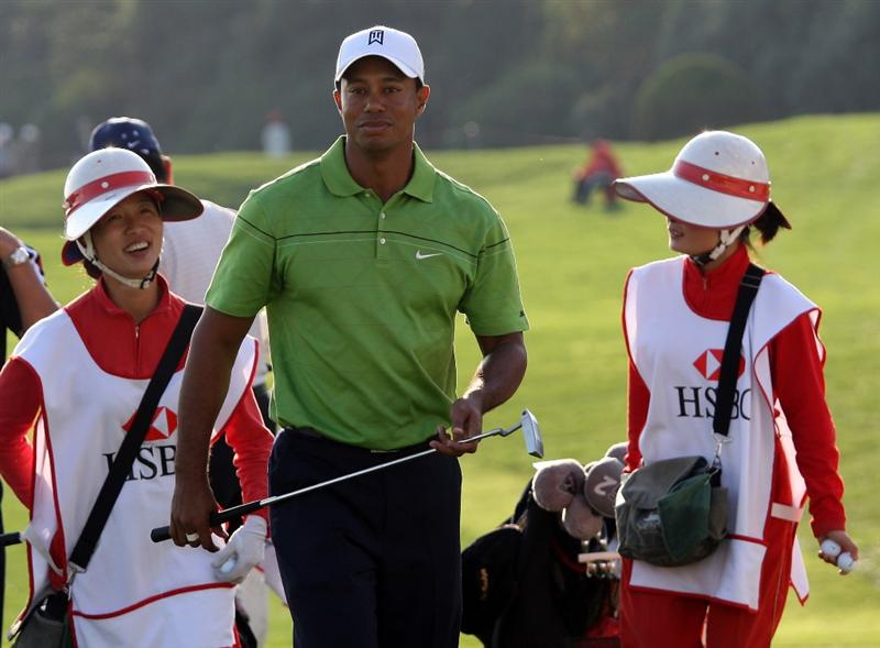 SHANGHAI, CHINA - NOVEMBER 04:  Tiger Woods of the USA during the pro-am event prior to the start of the WGC-HSBC Champions at Sheshan International Golf Club on November 4, 2009 in Shanghai, China.  (Photo by Ross Kinnaird/Getty Images)
