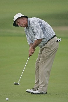 Jim Albus watches a putt during the first round of the Champions Tour at the Bayer Advantage Classic in Overland Park, KS on June 10, 2005.Photo by G. Newman Lowrance/WireImage.com