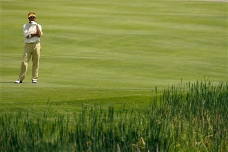 BLAINE, MN - JULY 18:  Dana Quigley looks at his shot from the sixth fairway during the first round of the 2008 3M Championship at TPC Twin Cities on Friday, July 18, 2008 in Blaine, Minnesota.  (Photo by Kevin C. Cox/Getty Images)