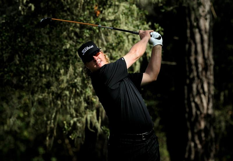 PEBBLE BEACH, CA - FEBRUARY 12:  Charley Hoffman hits his tee shot on the eighth hole during the second round of the AT&T Pebble Beach National Pro-Am at Spyglass Hill Golf Course on February 12 2010 in Pebble Beach, California. (Photo by Stephen Dunn/Getty Images)