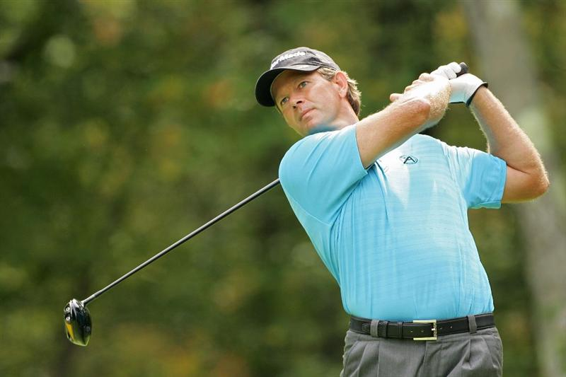 NORTON, MA - SEPTEMBER 07:  Retief Goosen of South Africa hits his drive on the second hole during the final round of the Deutsche Bank Championship at TPC Boston held on September 7, 2009 in Norton, Massachusetts.  (Photo by Michael Cohen/Getty Images)