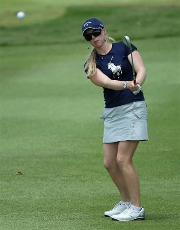 SINGAPORE - FEBRUARY 26:  Morgan Pressel of the USA plays a chip shot on the 16th hole during the third round of the HSBC Women's Champions at the Tanah Merah Country Club on February 26, 2011 in Singapore.  (Photo by Andrew Redington/Getty Images)