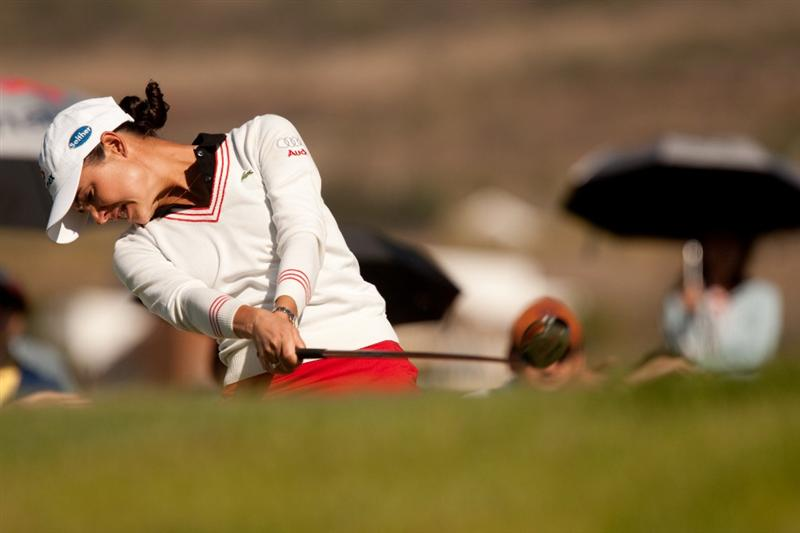 MORELIA, MEXICO - APRIL 29: Lorena Ochoa of Mexico plays a tee shot during the first round of the Tres Marias Championship at the Tres Marias Country Club on April 29, 2010 in Morelia, Mexico. (Photo by Darren Carroll/Getty Images)