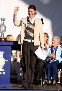 HALMSTAD, SWEDEN - SEPTEMBER 13:  European Team Captain Helen Alfredsson waves to the crowds during the Opening Ceremony in the town square prior to the start of the Solheim Cup at on September 13, 2007 in Halmstad, Sweden.  (Photo by Andy Lyons/Getty Images)