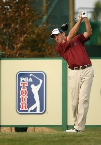 Jeff Gove hits his tee shot on the 13th hole  during the third round of the Turning Stone Resort Championship at Atunyote Golf Club, September 22, 2007 in Verona, New York. PGA TOUR - 2007 Turning Stone Resort Championship - Third RoundPhoto by Mike Ehrmann/WireImage.com