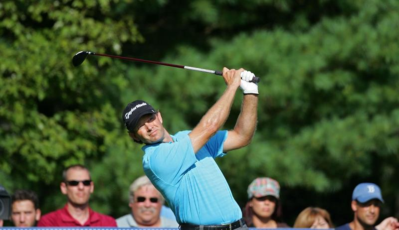 NORTON, MA - SEPTEMBER 07:  Retief Goosen of South Africa during the final round of the Deutsche Bank Championship at TPC Boston held on September 7, 2009 in Norton, Massachusetts.  (Photo by Michael Cohen/Getty Images)