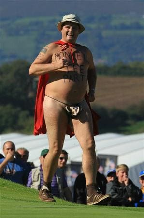NEWPORT, WALES - OCTOBER 04:  A streaker invades the 18th green in the singles matches during the 2010 Ryder Cup at the Celtic Manor Resort on October 4, 2010 in Newport, Wales.  (Photo by David Cannon/Getty Images)
