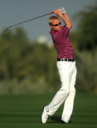 DUBAI, UNITED ARAB EMIRATES - FEBRUARY 03:  Simon Dyson of England during the pro-am as a preview for the 2010 Omega Dubai Desert Classic on the Majilis Course at the Emirates Golf Club on February 3, 2010 in Dubai, United Arab Emirates.  (Photo by David Cannon/Getty Images)