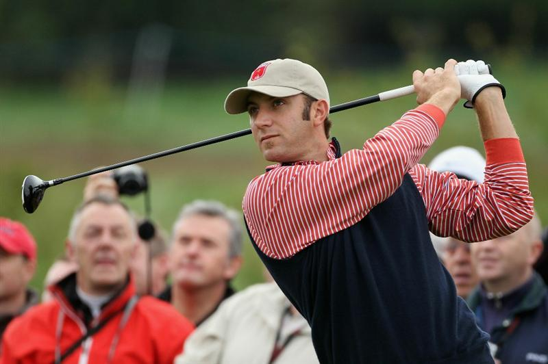 NEWPORT, WALES - SEPTEMBER 30:  Dustin Johnson of the USA watches a tee shot during a practice round prior to the 2010 Ryder Cup at the Celtic Manor Resort on September 30, 2010 in Newport, Wales.  (Photo by Andy Lyons/Getty Images)