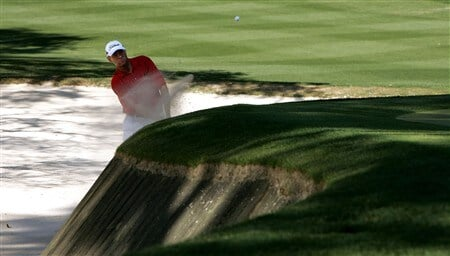HILTON HEAD, SC - APRIL 17:  Davis Love III hits from the sand on the 13th hole during the first round of the Verizon Heritage at Harbour Town Golf Links on April 17, 2008 in Hilton Head, South Carolina.  (Photo by Streeter Lecka/Getty Images)
