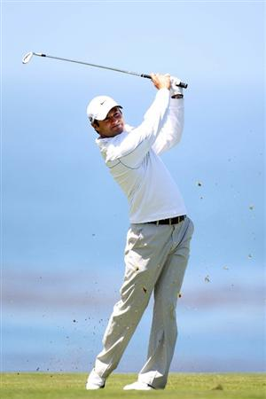 PEBBLE BEACH, CA - JUNE 17:  Trevor Immelman of South Africa plays a shot on the 11th fairway during the first round of the 110th U.S. Open at Pebble Beach Golf Links on June 17, 2010 in Pebble Beach, California.  (Photo by Ross Kinnaird/Getty Images)