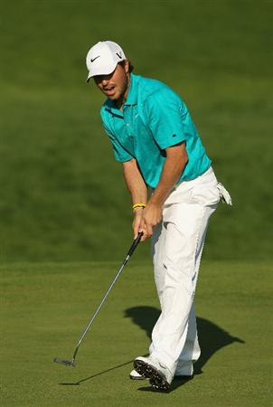 VILAMOURA, PORTUGAL - OCTOBER 16:  Pablo Martin of Spain holes a birdie putt on the 16th green during the third round of the Portugal Masters at the Oceanico Victoria Golf Course on October 16, 2010 in Vilamoura, Portugal.  (Photo by Richard Heathcote/Getty Images)