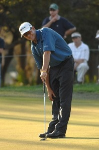 Stephen Leaney reacts to his missed birdie putt on the 17th hole during the second round of the PODS Championship held on the Copperhead Course at Innisbrook Resort & Golf Club in Tampa Bay, Florida, on March 9, 2007. PGA TOUR - 2007 PODS Championship - Second RoundPhoto by Fred Vuich/WireImage.com