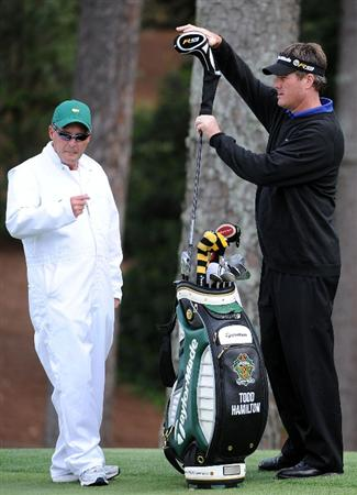 AUGUSTA, GA - APRIL 07:  Todd Hamilton pulls a club during a practice round prior to the 2009 Masters Tournament at Augusta National Golf Club on April 7, 2009 in Augusta, Georgia.  (Photo by Harry How/Getty Images)
