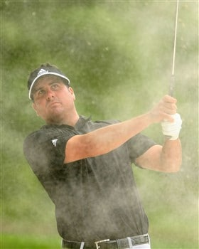 CHARLOTTE, NC - MAY 03:  Pat Perez hits a bunker shot on the 18th hole during the third round of the Wachovia Championship at the Quail Hollow Country Club on May 3, 2008 in Charlotte, North Carolina.  (Photo by Scott Halleran/Getty Images)