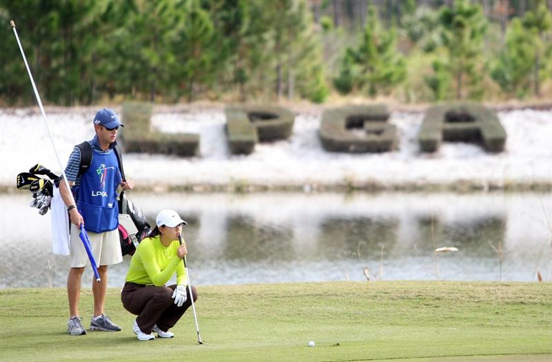 DAYTONA BEACH, FL - DECEMBER 04:  Michelle Wie on the green at the 18th hole during the second round of the LPGA Qualifying School held at the LPGA International  on the Champions Course on December 4, 2008 in Daytona Beach, Florida. (Photo by David Cannon/Getty Images)