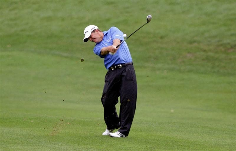 INCHEON, SOUTH KOREA - SEPTEMBER 10:  Fred Funk of United States plays a shot during day one of PGA Champions Tour - Posco E&C Songdo Championship at Jack Nicklaus Golf Club on September 10, 2010 in Incheon, South Korea.  (Photo by Chung Sung-Jun/Getty Images)