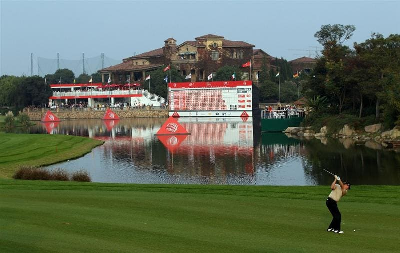 SHANGHAI, CHINA - NOVEMBER 06:  Ernie Els of South Africa on the 18th fairway during the third round of the WGC - HSBC Champions at Sheshan International Golf Club on November 6, 2010 in Shanghai, China.  (Photo by Ross Kinnaird/Getty Images)