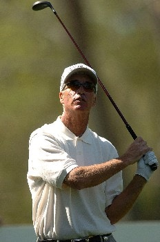 John Ross follows the flight of his tee shot on the 16th hole during the second round of the Champions' Tour 2005 SBC Classic at  the Valencia Country Club in Valencia, California March 12, 2005.