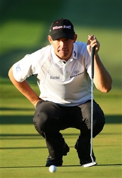 BLOOMFIELD HILLS, MI - AUGUST 10:  Padraig Harrington of Ireland lines up his putt on the 11th hole during the completion of round three of the 90th PGA Championship at Oakland Hills Country Club on August 10, 2008 in Bloomfield Township, Michigan.  (Photo by Stuart Franklin/Getty Images)