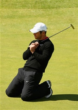 SOUTHPORT, UNITED KINGDOM - JULY 20:  Paul Casey of England reacts to a missed putt on the 18th green during the final round of the 137th Open Championship on July 20, 2008 at Royal Birkdale Golf Club, Southport, England.  (Photo by Richard Heathcote/Getty Images)