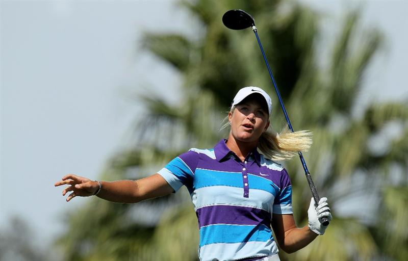 RANCHO MIRAGE, CA - APRIL 02:  Suzann Pettersen of Norway reacts to her tee shot on the 11th hole during the second round of the Kraft Nabisco Championship at Mission Hills Country Club on April 2, 2010 in Rancho Mirage, California.  (Photo by Stephen Dunn/Getty Images)